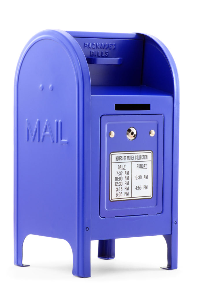 Close-up of a blue metallic Mailbox, isolated on white background.