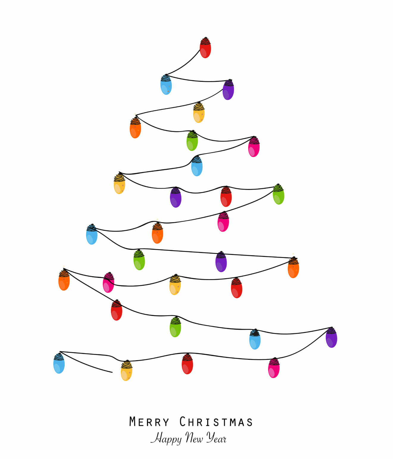 Tree with Christmas light bulb. Merry christmas and happy new year greeting card