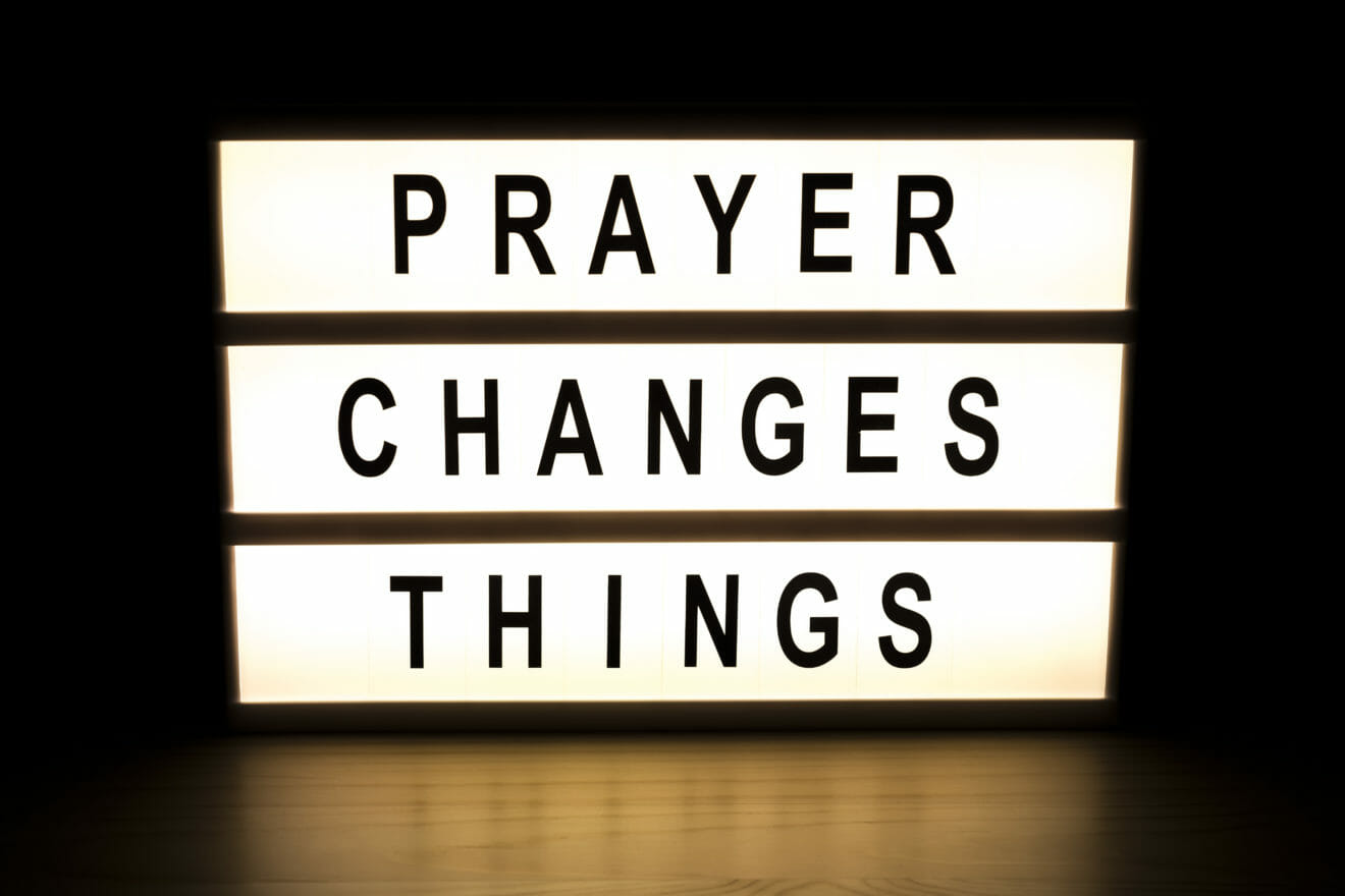 Prayer changes things light box sign board